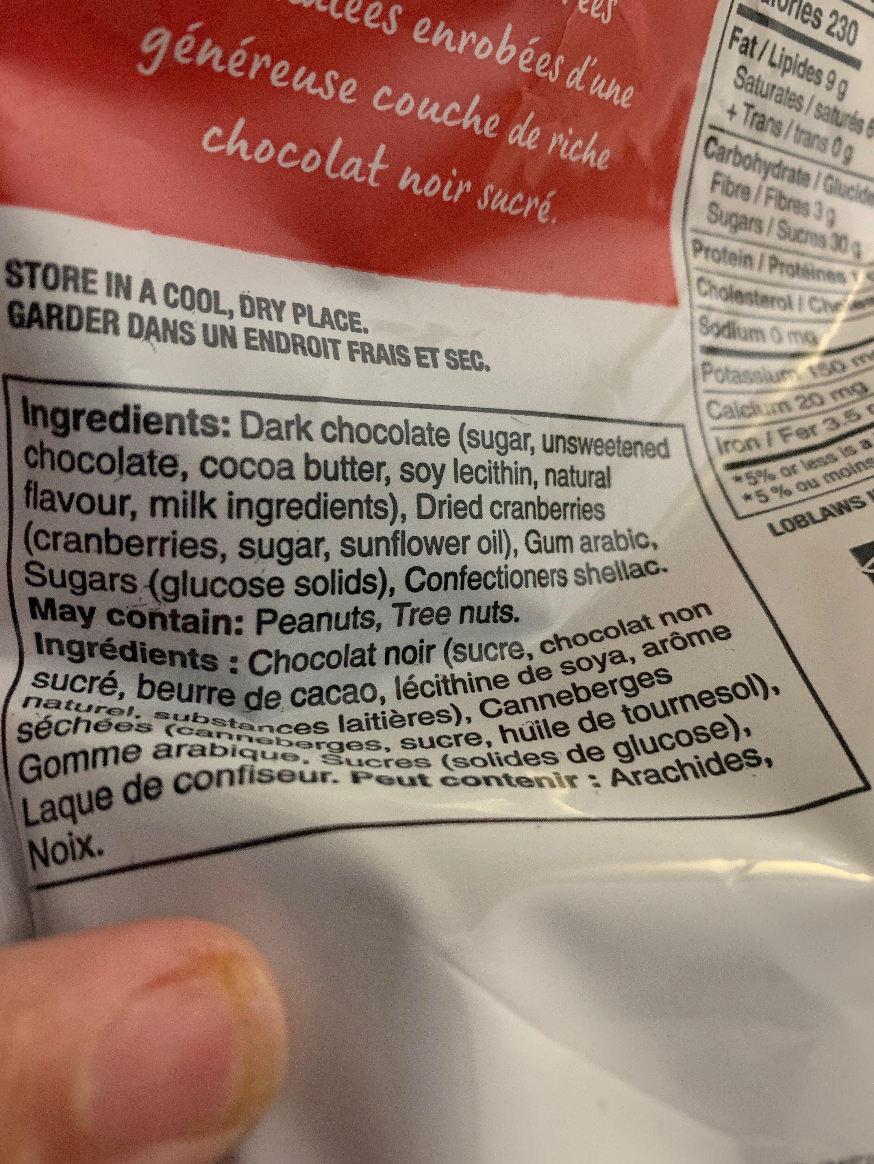 Dark Chocolate Cranberries - Ingredients - fr