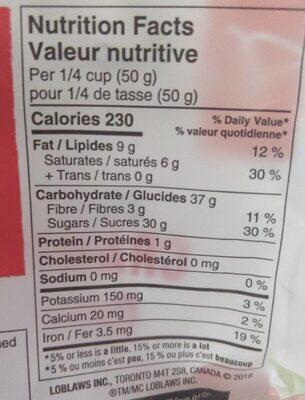 Dark Chocolate Cranberries - Nutrition facts - fr