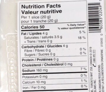Mozzarella-style slices - Informations nutritionnelles - fr