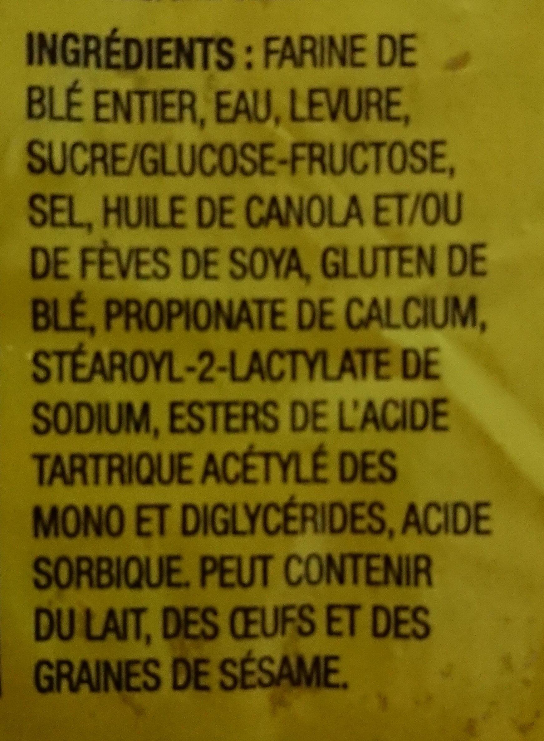 Pain a sandwich - Ingrédients - fr