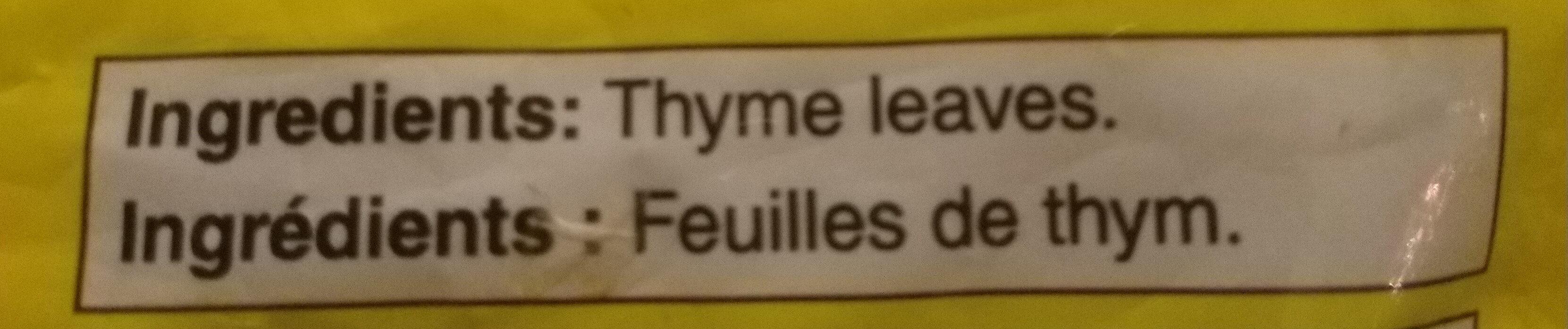 Feuilles de thym - Ingredients - fr