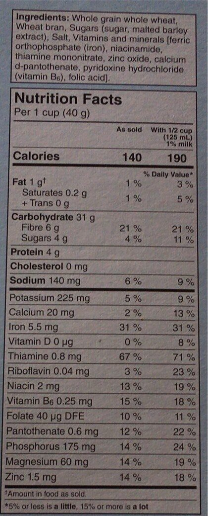 Bran flakes cereal - Nutrition facts - fr