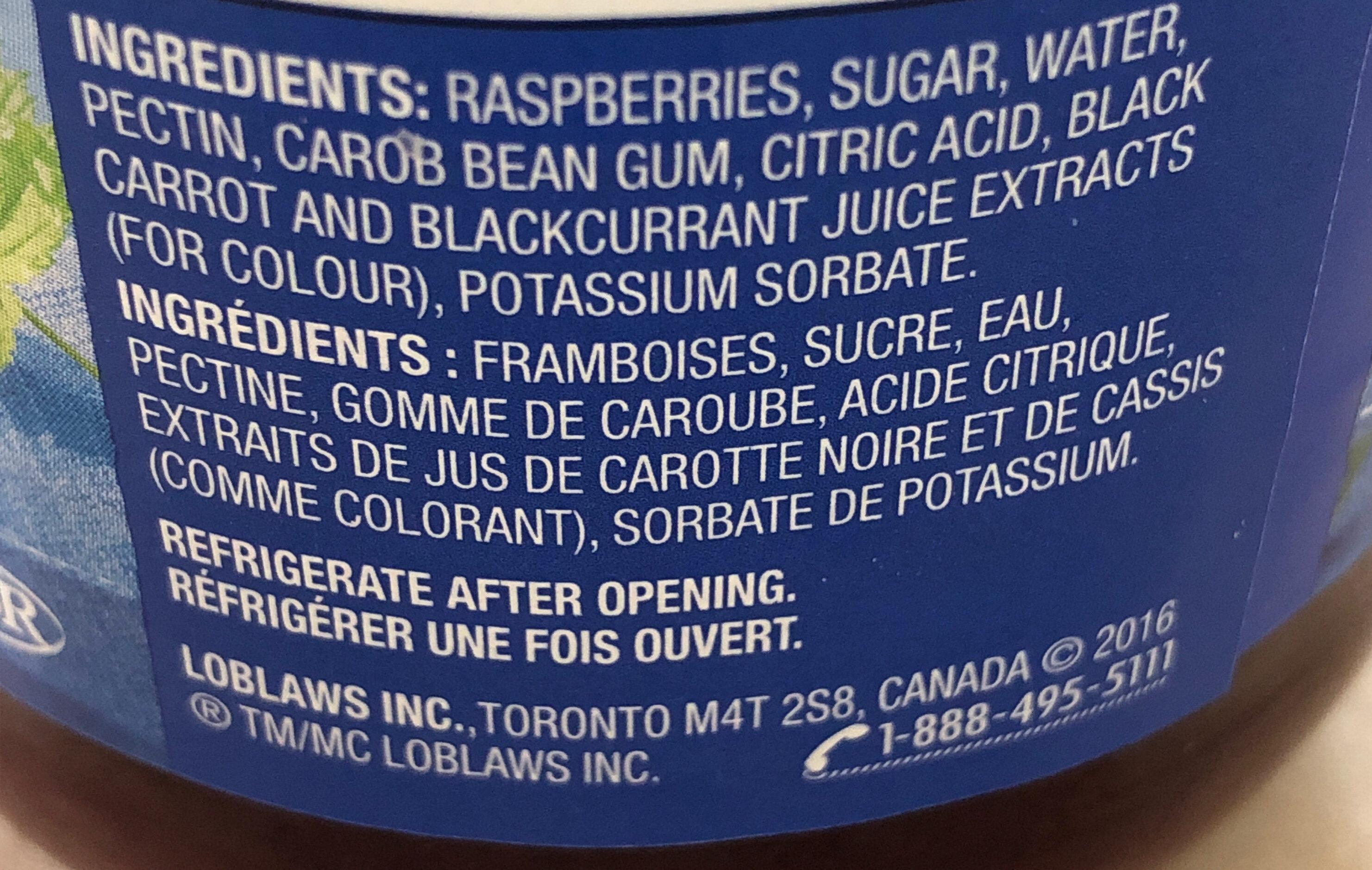 Twice the fruit raspberry spread - Ingredients - fr