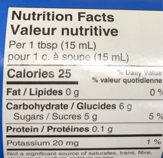Twice the fruit raspberry spread - Nutrition facts - fr