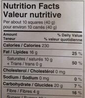 European dark chocolate - Nutrition facts - en