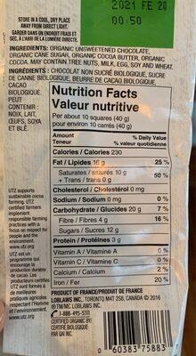 European dark chocolate - Informations nutritionnelles - fr