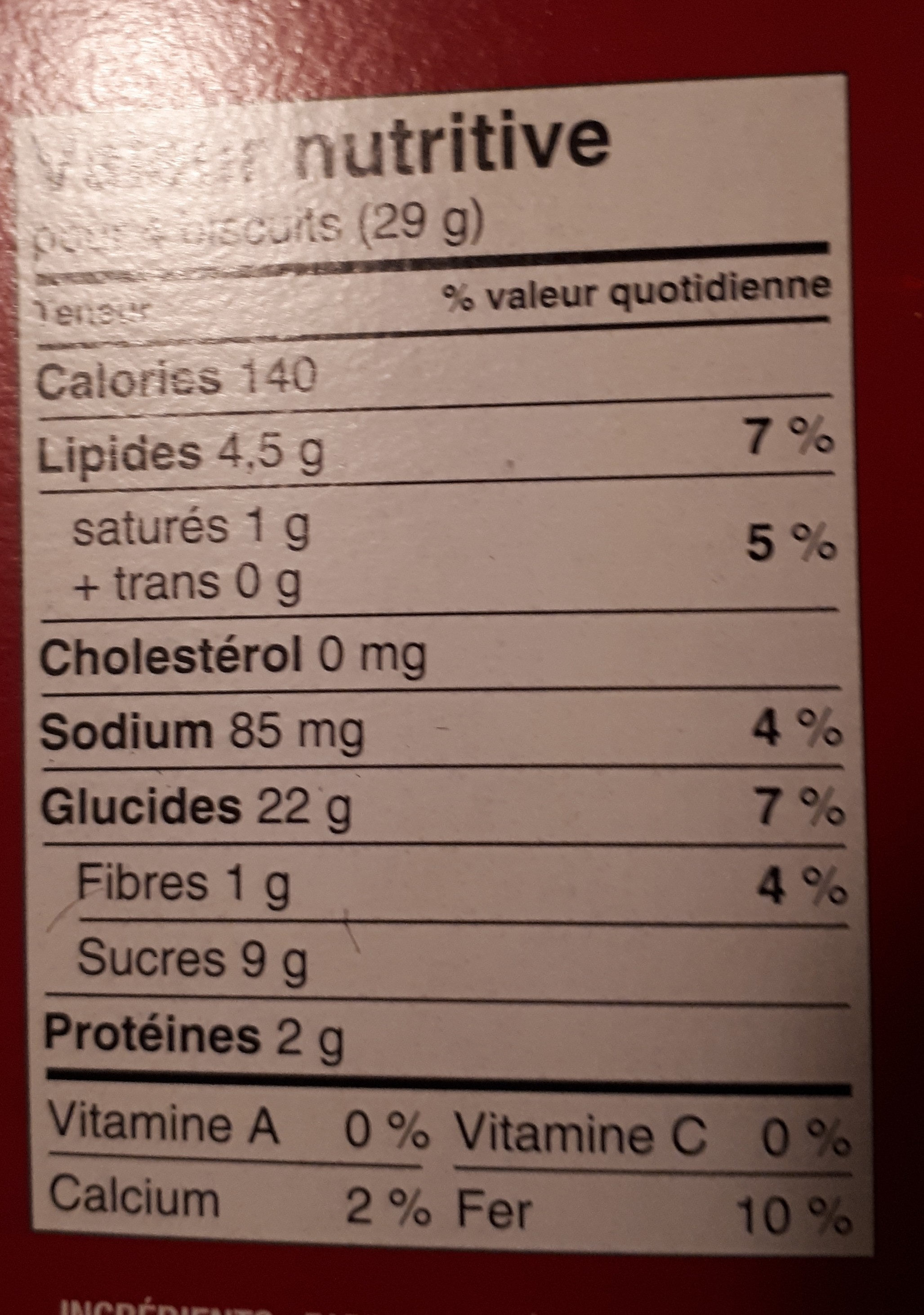 English-style gingersnap - Nutrition facts - fr