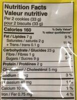 Biscuits Brisures Chocolatées - Nutrition facts - en