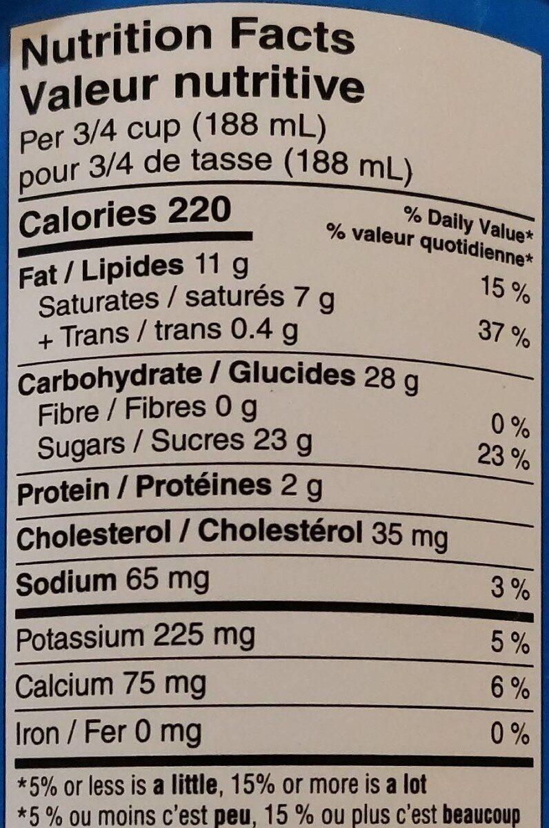 Vanilla ice cream - Informations nutritionnelles - en
