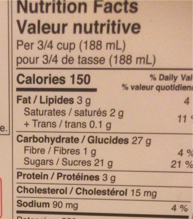 Glace - Nutrition facts - fr
