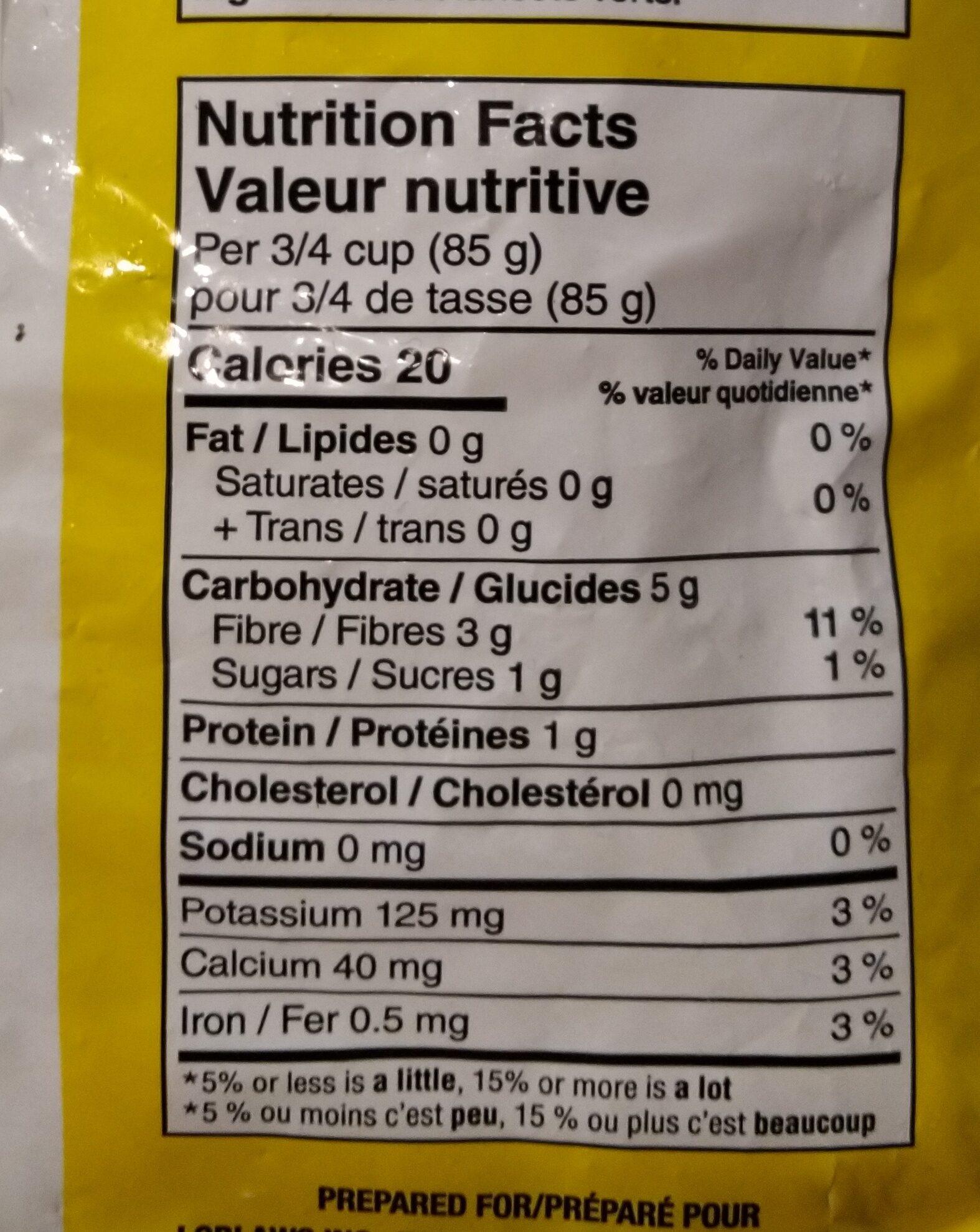 Whole green beans - Informations nutritionnelles - en