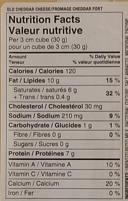 Cheddar cheese old - Informations nutritionnelles - en