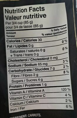 Baby Carrots - Nutrition facts - fr