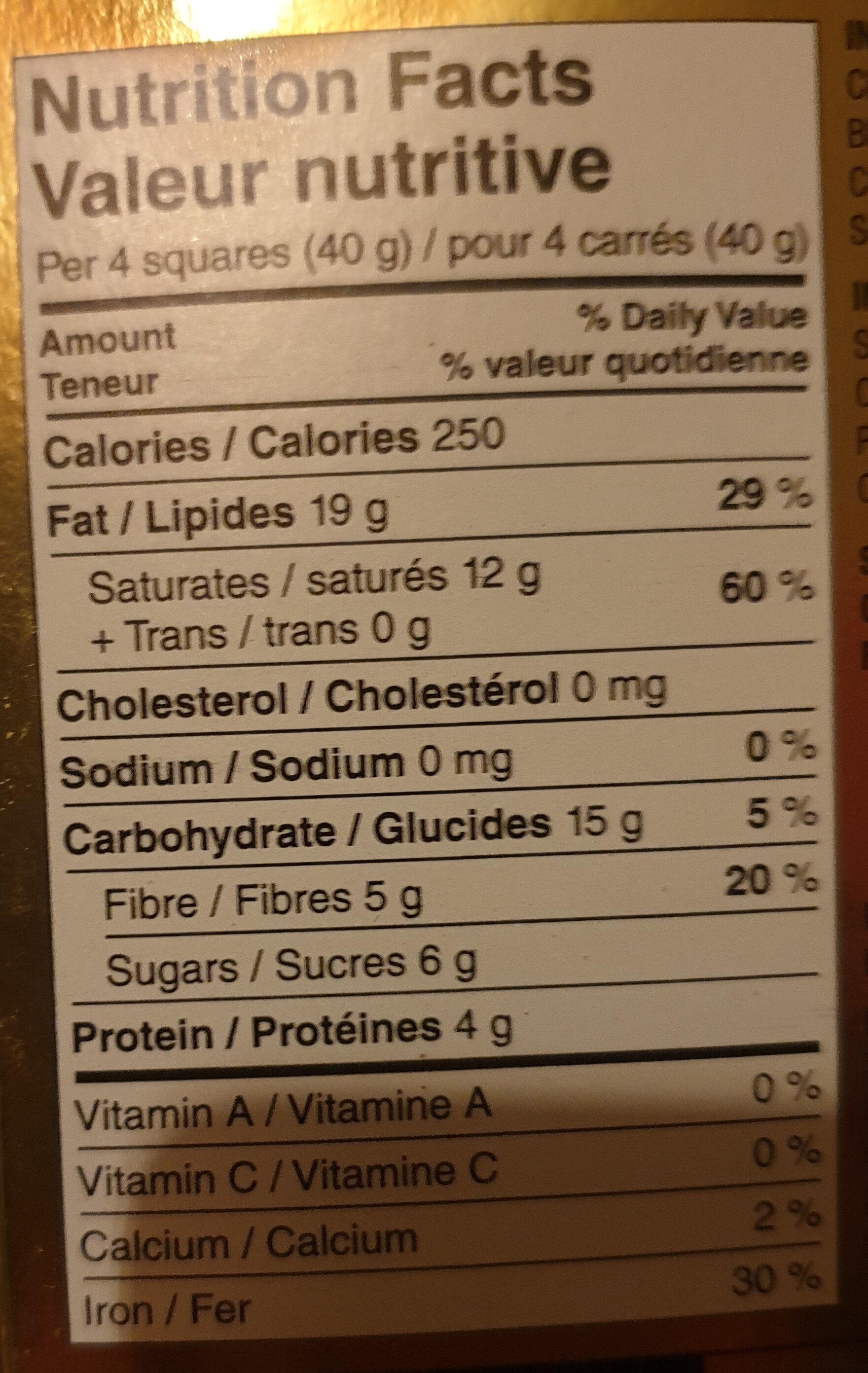 Cocoa solids extra dark chocolate - Nutrition facts - en