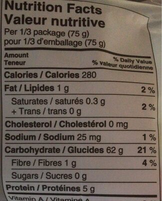 Rice vermicelli noodles - Nutrition facts - fr
