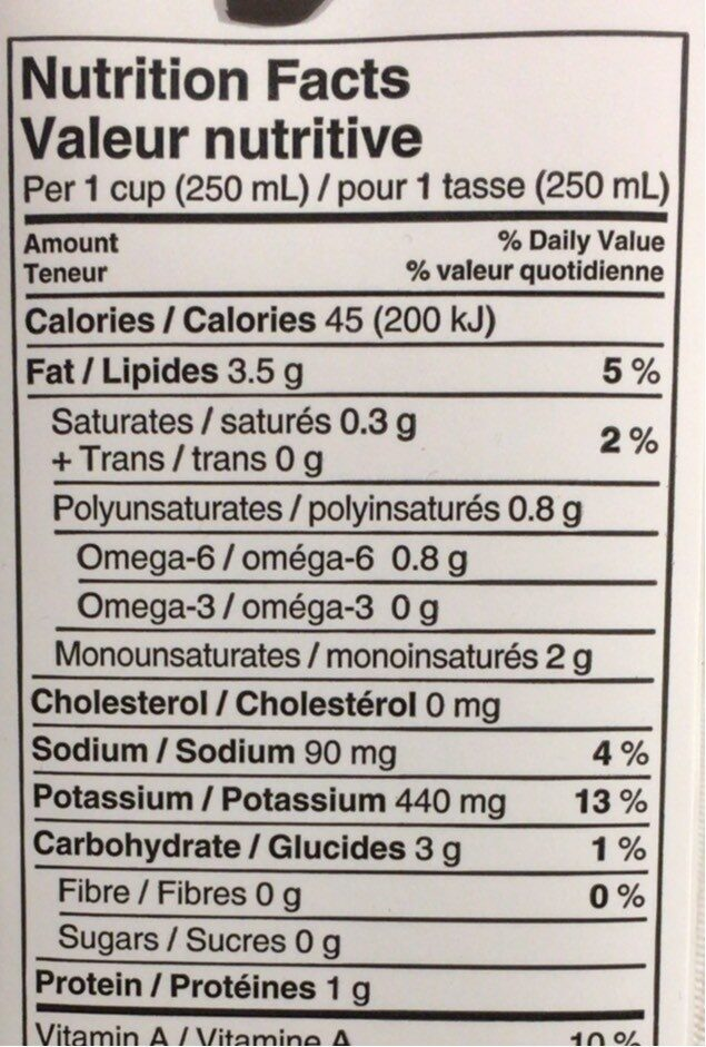 Original unsweetened fortified almond beverage - Nutrition facts - fr