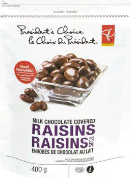 Milk chocolate covered raisins - Product - fr