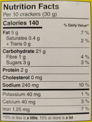 original snack crackers - Nutrition facts - en