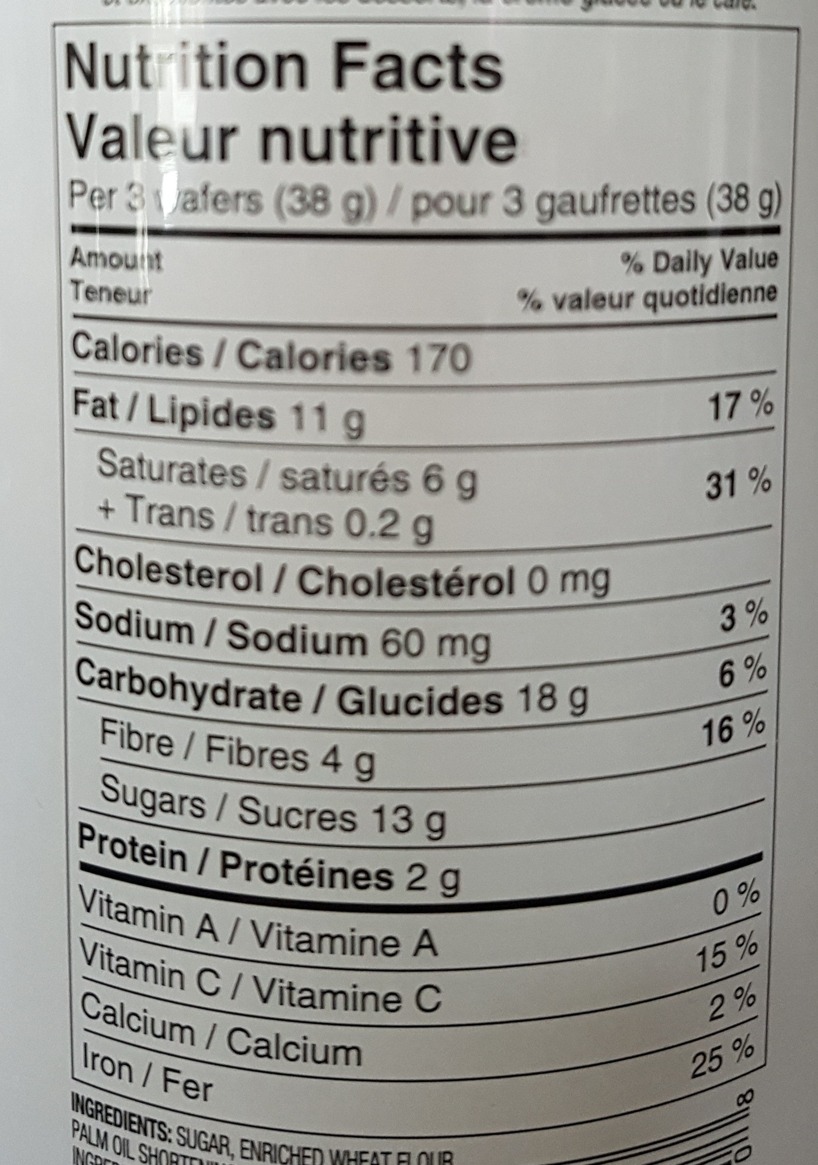 Dark Chocolate Flavour Rolled Wafers - Voedingswaarden