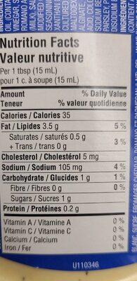 Ranch aux 3 fromages - Informations nutritionnelles - en