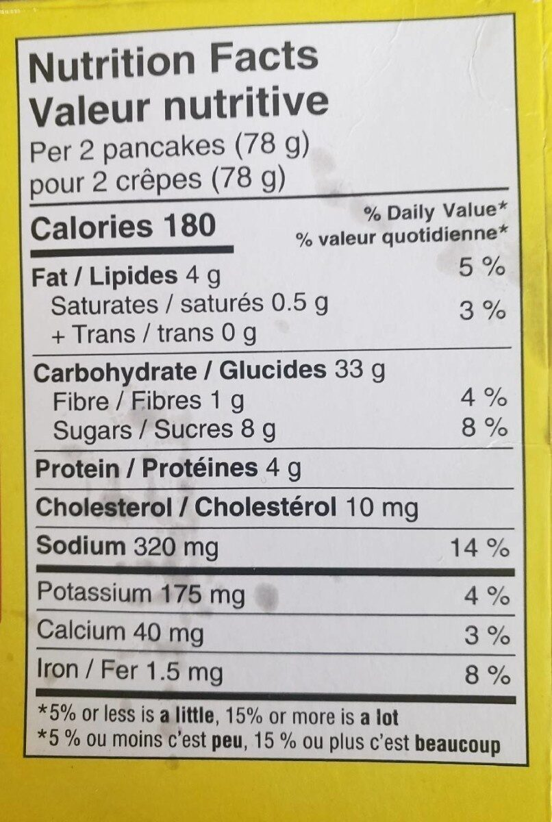No name buttermilk pancakes - Nutrition facts - fr