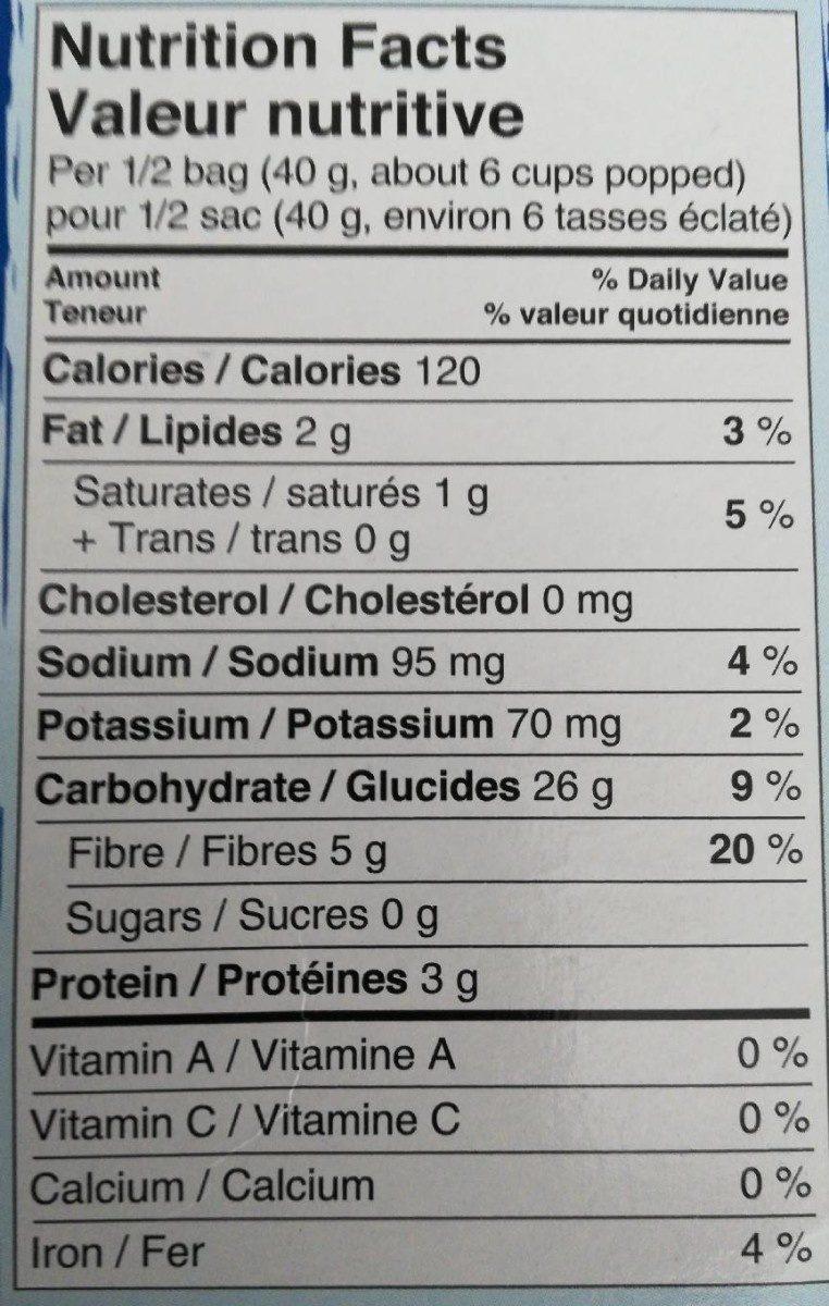 President's Choice Blue Menu Natural Flavor Microwave Popcorn - Nutrition facts - fr