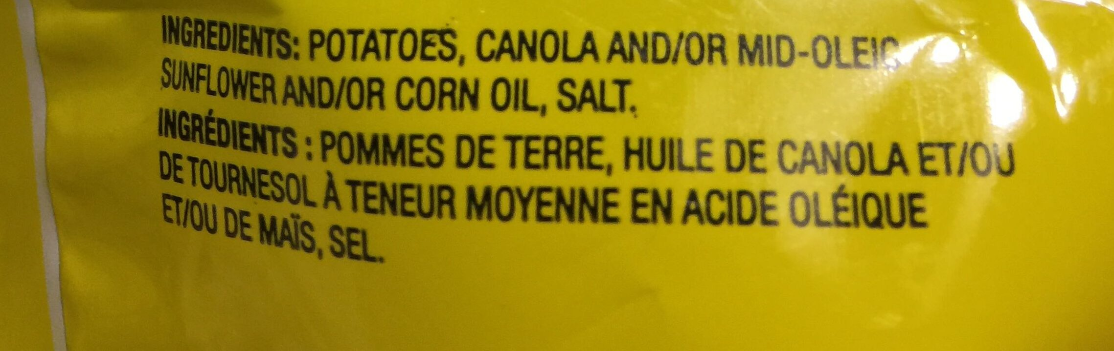 Croustilles ondulées nature - Ingrédients - fr