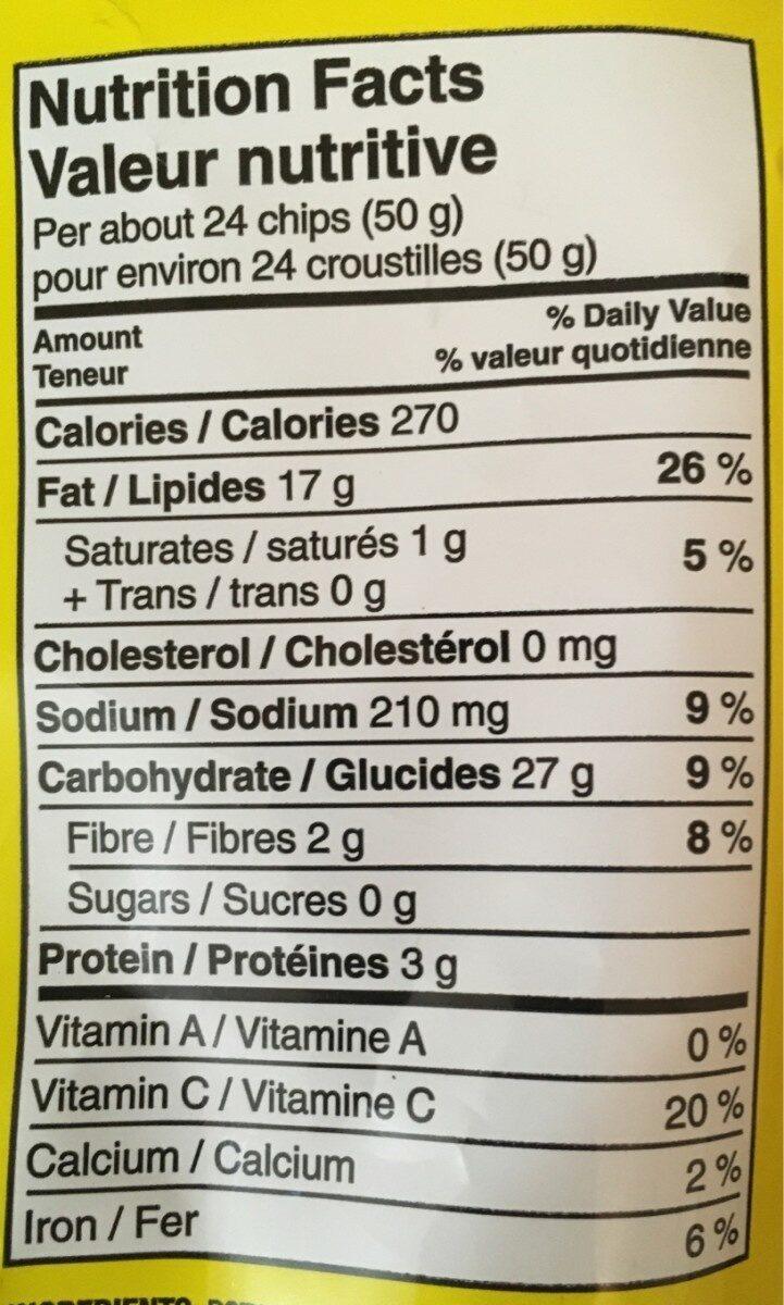 Croustilles ondulées nature - Informations nutritionnelles - fr