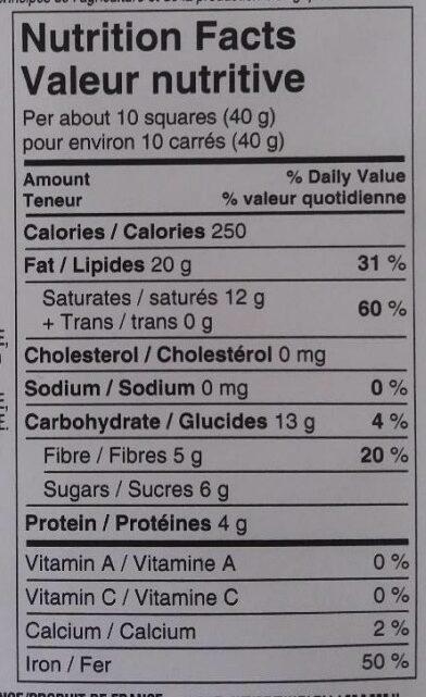 President's Choice Organics European Extra Dark Chocolate - Informations nutritionnelles - fr