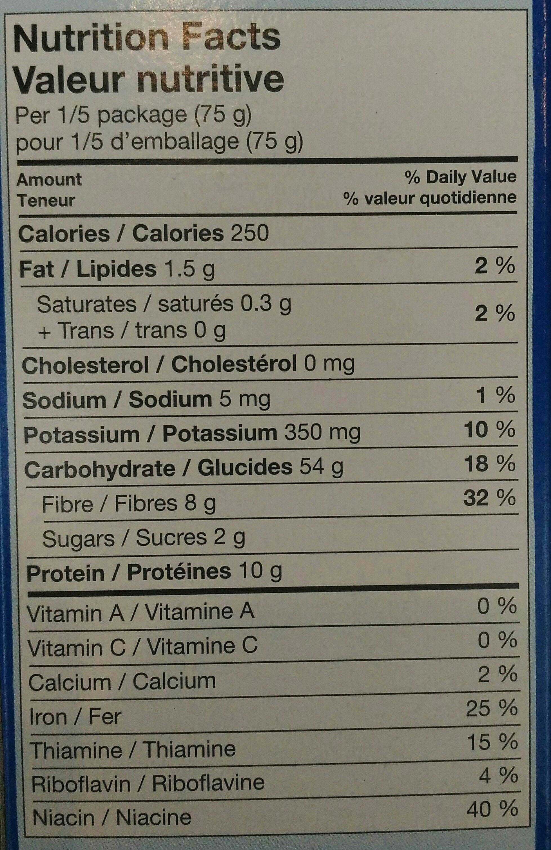 Spaghettis grains entiers - Informations nutritionnelles - fr