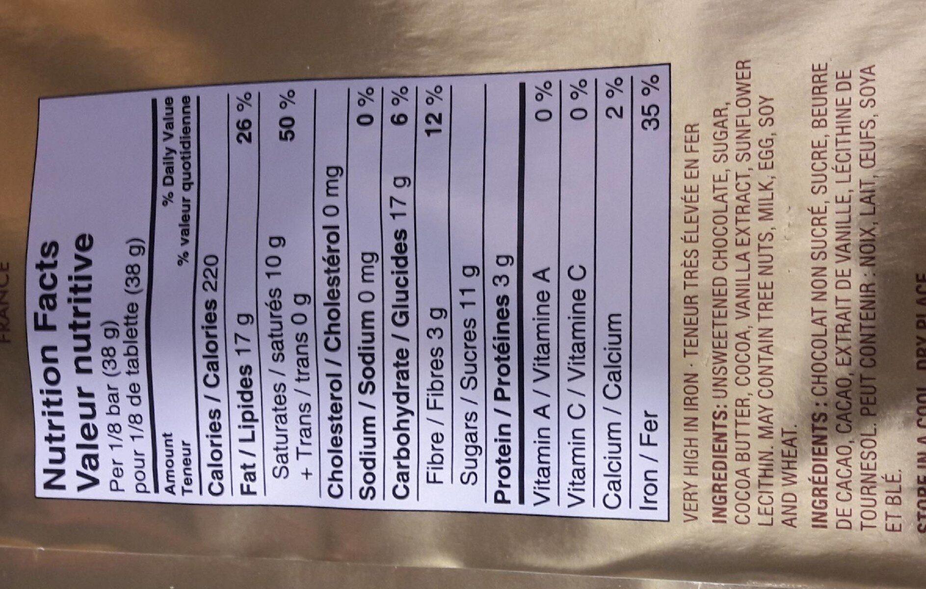 Chocolat Extra-noir 72 % De Matière Sèche De Cacao PC - Voedigswaarden