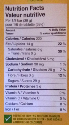Milk chocolate with hazelnuts - Nutrition facts - en