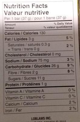 Apple cereal bars - Nutrition facts - en