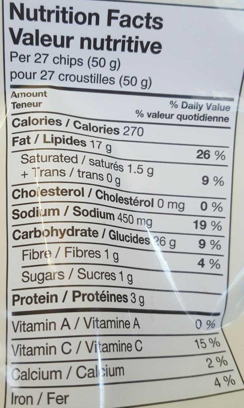 Lays salt & vinegar - Informations nutritionnelles - en