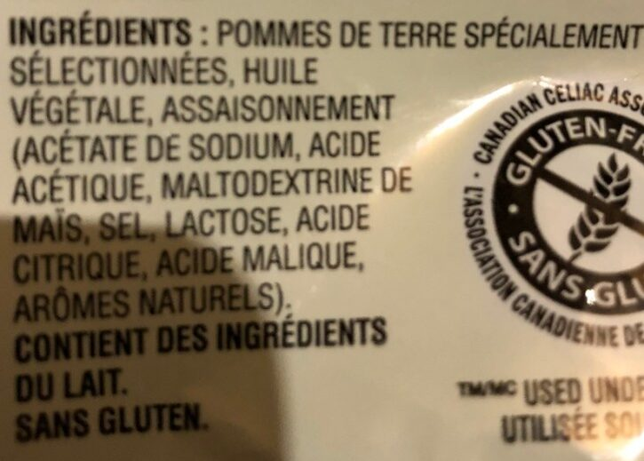 Chips sel et vinaigre - Ingredients - fr
