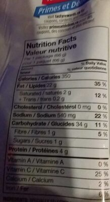Chips sel et vinaigre - Nutrition facts - fr