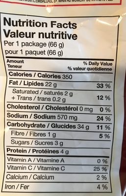 Lay's Ketchup - Informations nutritionnelles - fr
