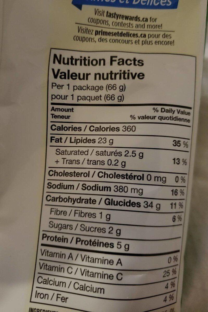 Crème sure et oignon - Nutrition facts - fr