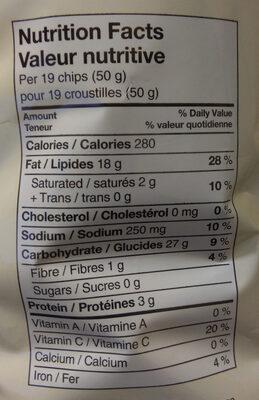 Croustilles Ondulées - Nutrition facts - fr