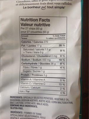 Potato Chips - Salt & Vinegar - Nutrition facts - fr