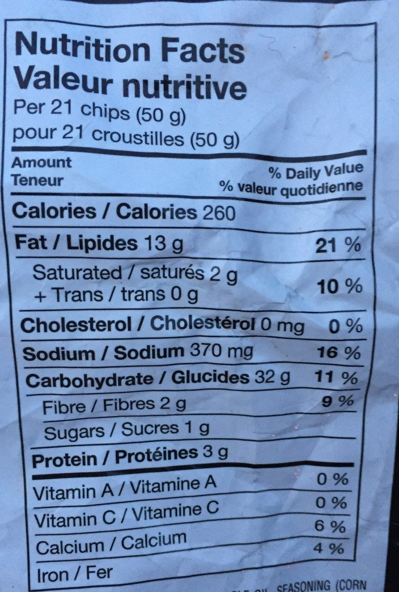 Tortilla Chips Nacho Cheese - Informations nutritionnelles