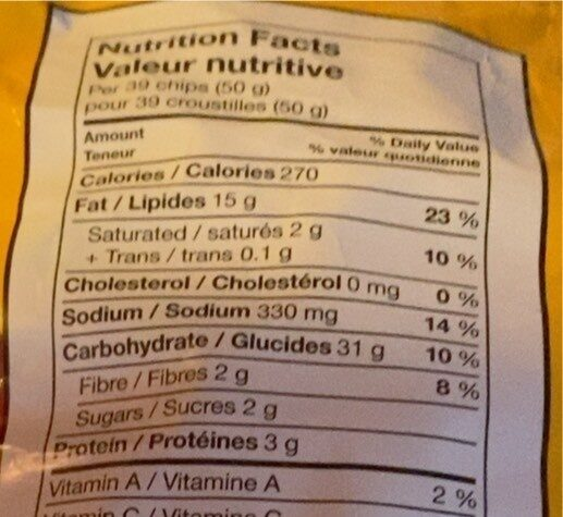 Fritos BBQ - Nutrition facts - fr
