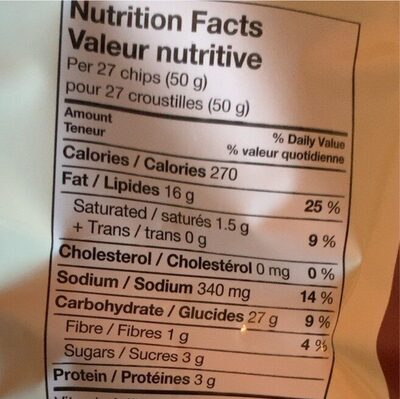 Chips - Nutrition facts - fr