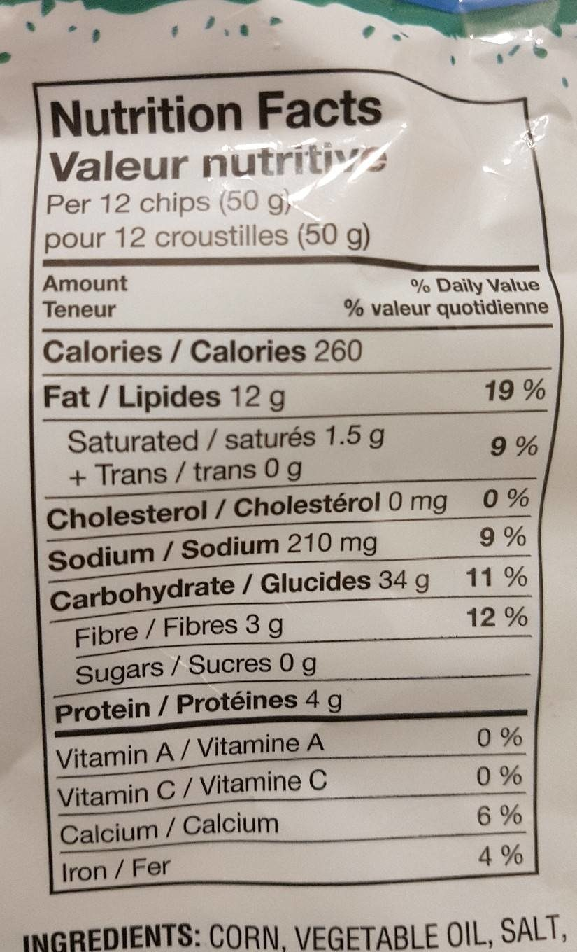 Tortilla Chips Restaurant Style - Nutrition facts - fr