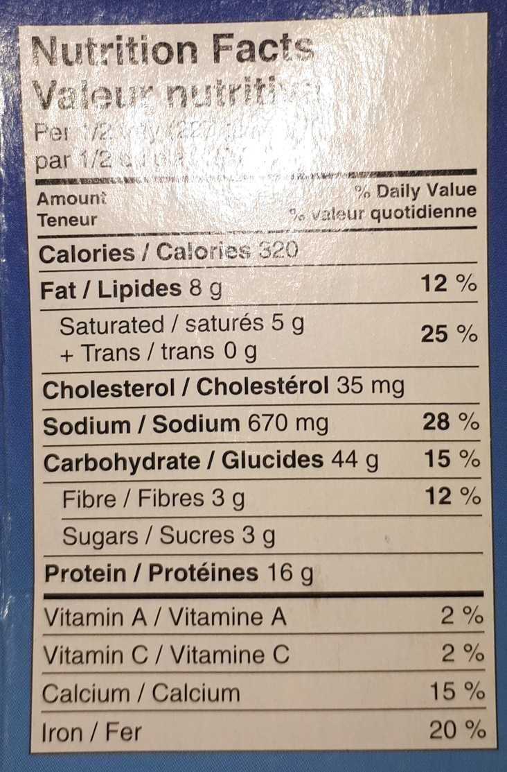 Chicken Lasagne - Nutrition facts - en
