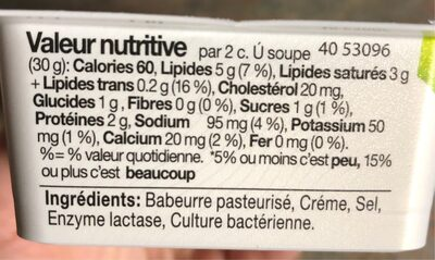 Fromage cremeux a tartiner - Informations nutritionnelles - fr