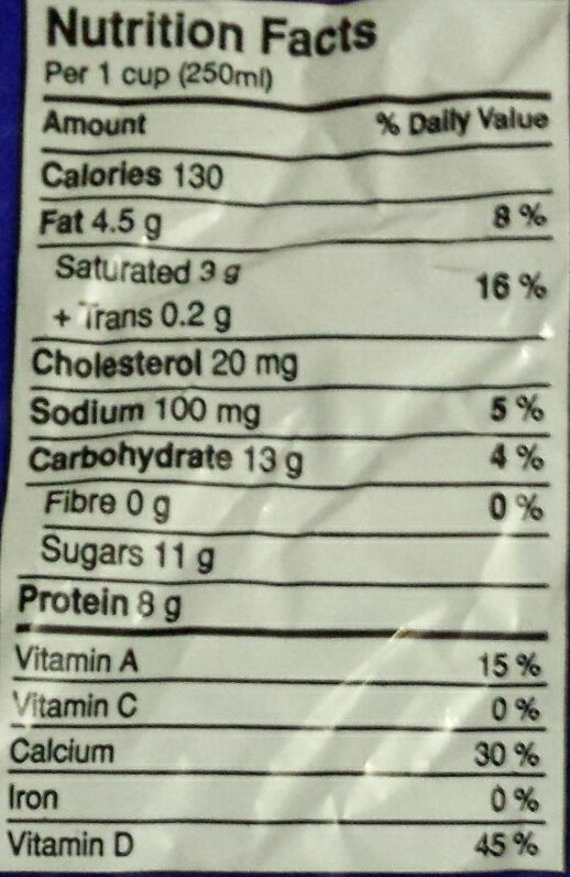 2% MF Partly Skimmed Milk - Informations nutritionnelles - en