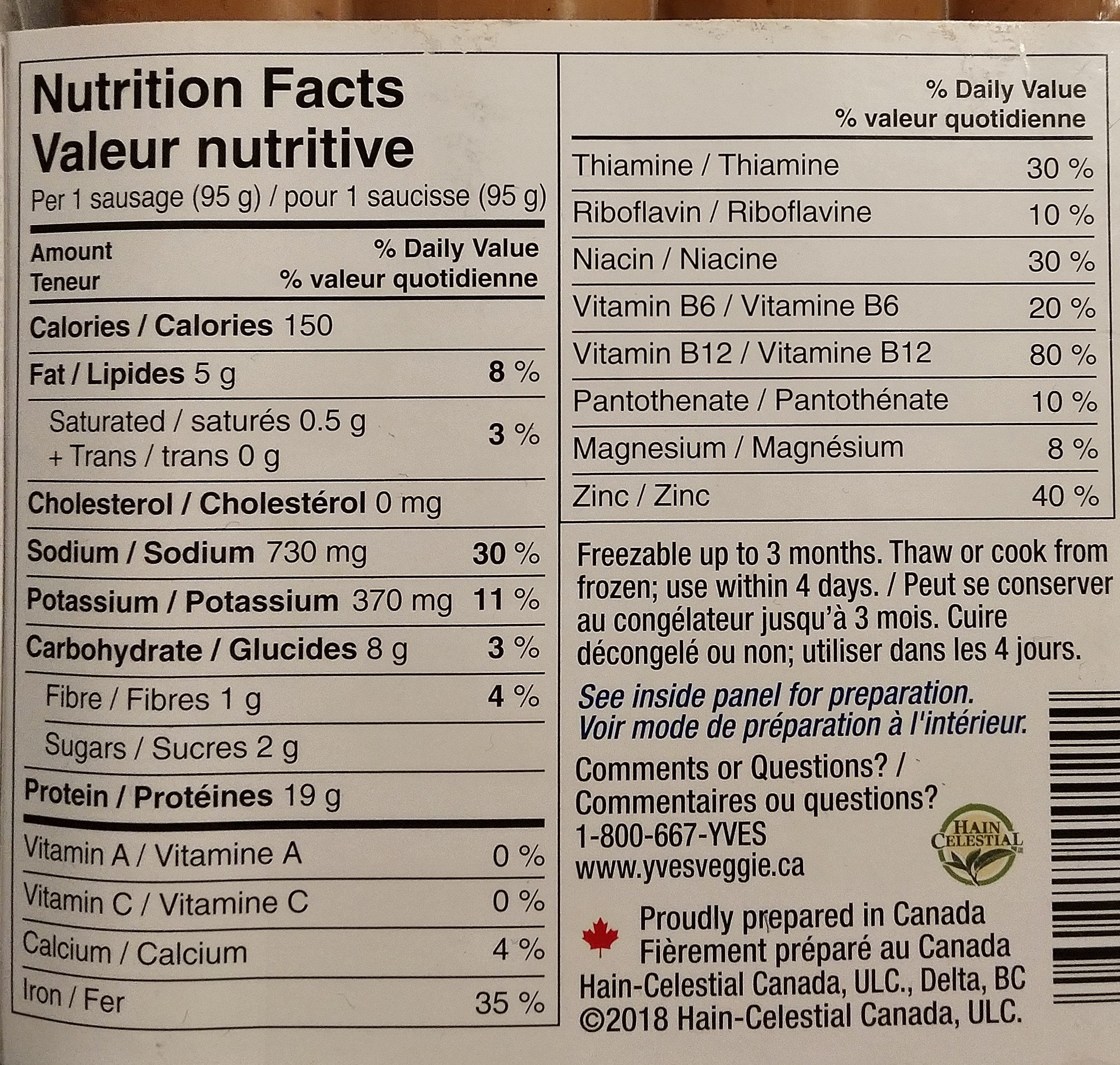 saucisses veggie bavaroise - Nutrition facts - fr