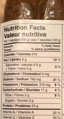 Saucisses vergue méditerranéenne harissa - Informations nutritionnelles - fr