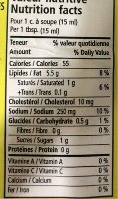 Vinaigrette cesar - Nutrition facts - fr